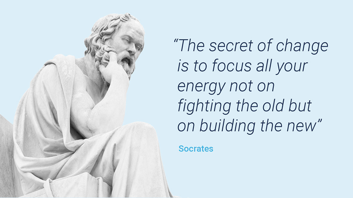 """Socrates' Sculpture with a quote that says: The secret of change is to focus all your energy not on fighting the old but on building the new"""" to explain the advantages of choosing a e-QMS like QualityKick."""
