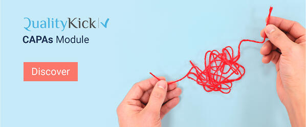 Hands fixing a red tangled yarn, problem solving concept to explain QualityKick's CAPAs Module.