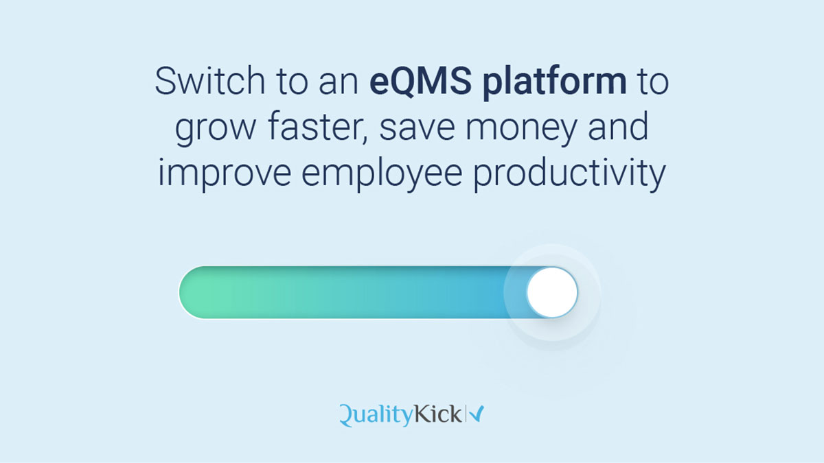 A switcher button that shows how to grow faster, save money and improve employeee productivity with QualityKick.